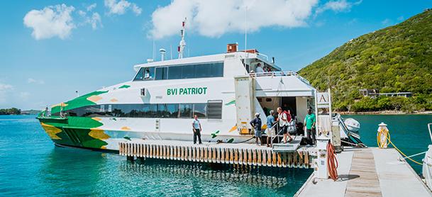British Virgin Islands ferry boat loading passengers
