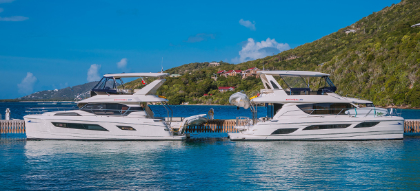 power catamarans at dock in the BVI