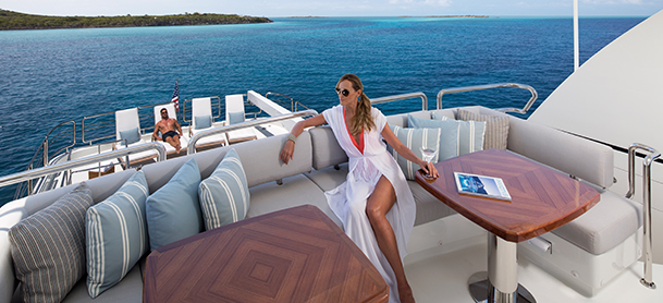Lady lounging on yacht