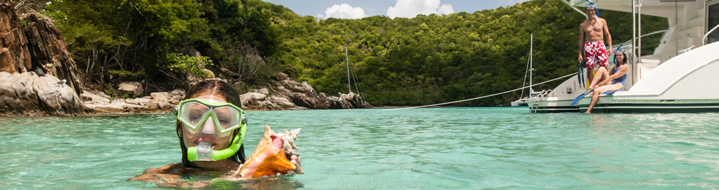 Snorkeling off the back of a boat
