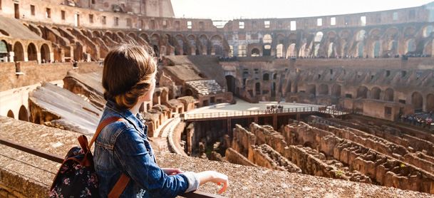 Woman enjoying Roman Architecture in Croatia