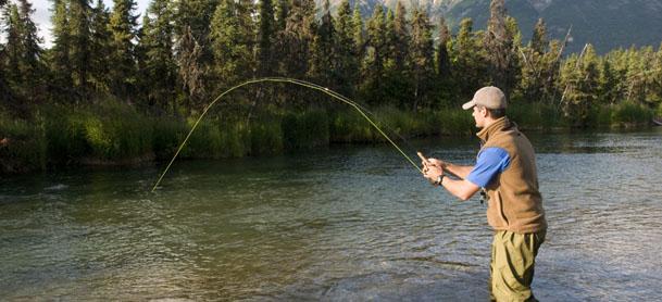 Man flyfishing in lake