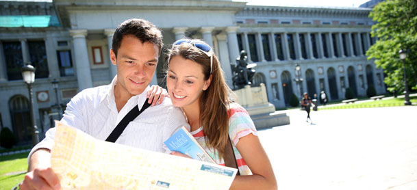 Couple using map