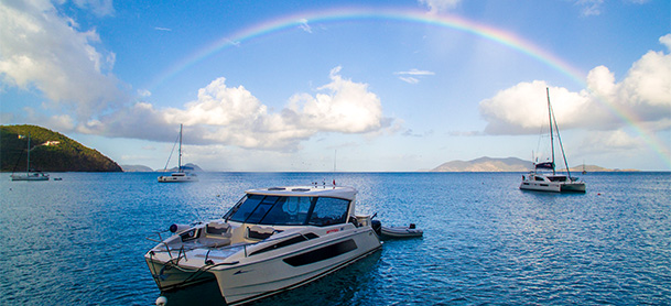 MarineMax 362 with rainbow in background