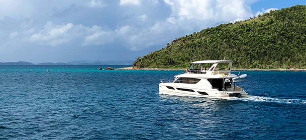 MarineMax power catamaran cruising