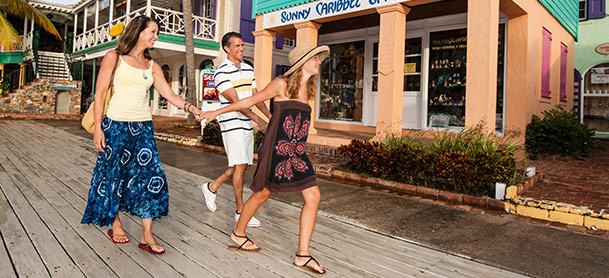 Family walking through town on charter vacation