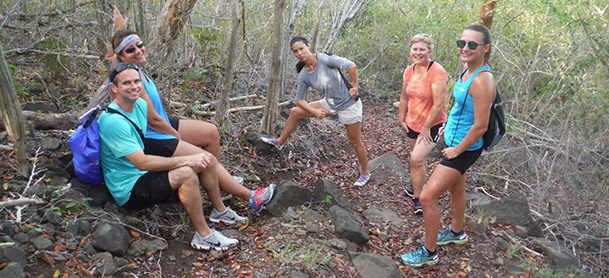 Group of people hiking in the BVI