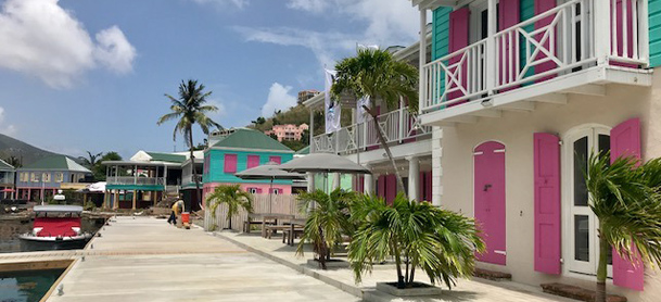 Colorful buildings at Soper's Hole, Tortola