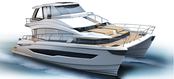 A rendering of the Aquila 54 power catamaran