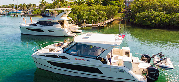 Two power catamarans in the Bahamas