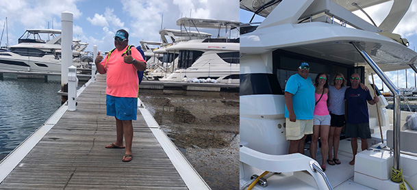 On the left, a man standing on a dock in the BVI with power catamarans behind him. On the right, a family standing on the bow of an Aquila power catamaran