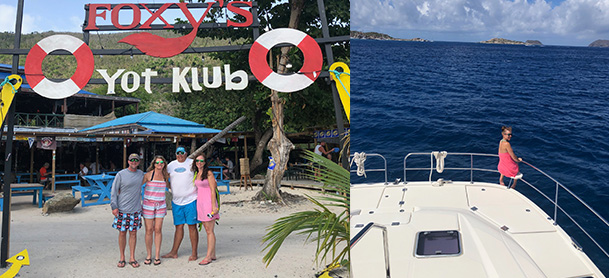 On the left, a group of four people standing in front of the Foxy's Bar sign in the British Virgin Islands. On the right, a girl standing on the stern of an Aquila looking out into the blue water