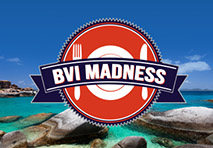 "A graphic of a plate, fork, and knife with ""BVI Madness"" written in the middle, and a shot of the BVI water in the background"