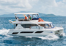 MarineMax 484 Power Catamaran cruising through water