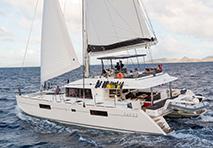 Sailing catamaran with the sails up