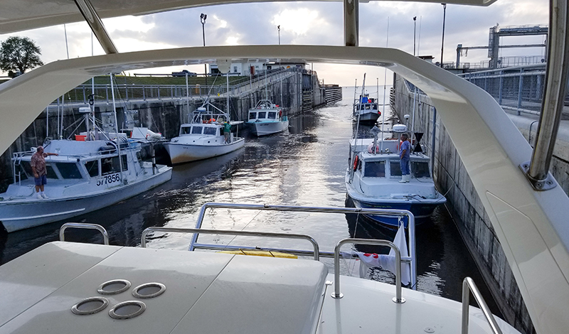 view of lock from flybridge