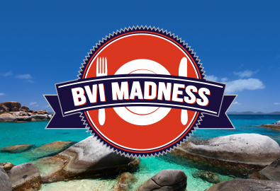 "A graphic saying ""BVI Madness"" over a panoramic shot of the British Virgin Islands water"