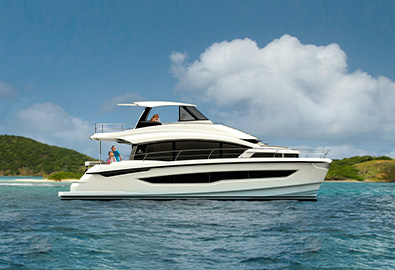 A MarineMax Vacations 545 power catamaran in the water
