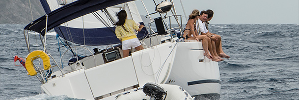 Group on sailing charter boat