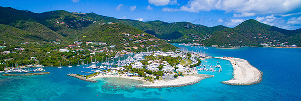 an aerial shot of the british virgin islands