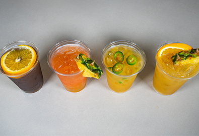 lineup of painkiller cocktails
