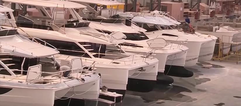 Aquila power catamarans in factory