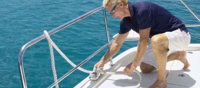 Man tying an eight knot