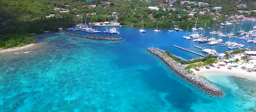 marina with clear blue water