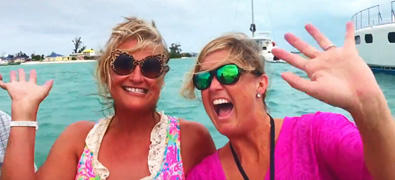 Two ladies enjoying the water in the BVI