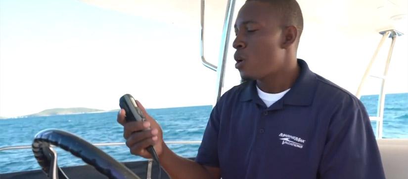 Man calling base on VHF radio