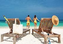 Couple enjoying beach in Cayman Islands