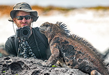 man photographing iguana in golapagos islands
