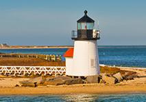 Brant Point Lighthouse on Nantucket Island in Massachusetts
