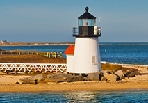 brant point lighthouse on nantucket island in massachusetts