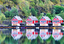 Homes along dock in Norway