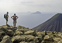 people hiking enjoying view in sicily