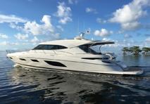 Riviera yacht cruising through water