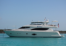 A profile shot of a Hatteras yacht