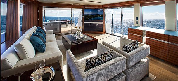 Yacht lounge area