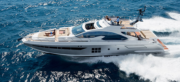 An Azimut 77S in the water