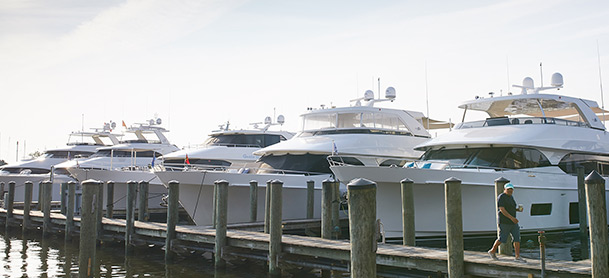 Yachts lined up in a marina