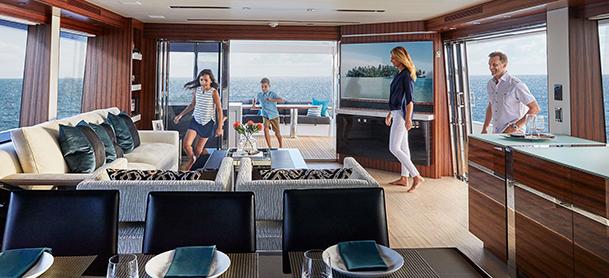 Family enjoying yacht lounge area