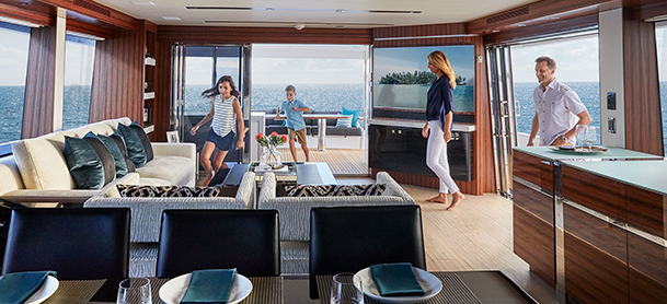 Family enjoying yacht lounge area