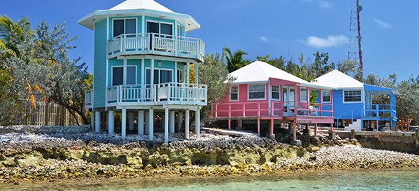 Colorful cottages right on the beach