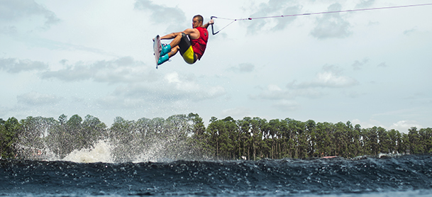 Wakeboarder getting serious air