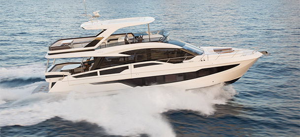 Galeon 640 FLY yacht cruising through blue water