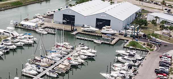 Yachts docked and in storage