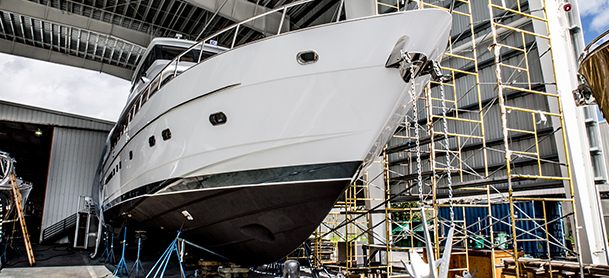 Yacht being serviced