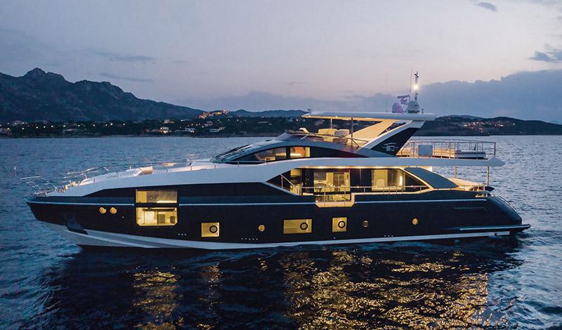 large azimut yacht on open water