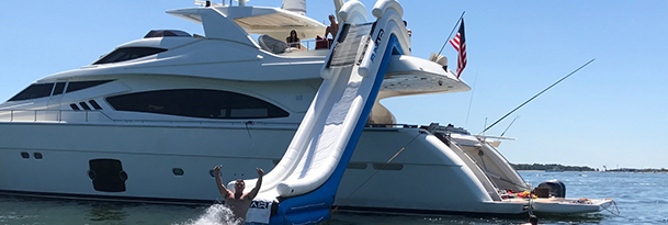an inflatable slide on a yacht